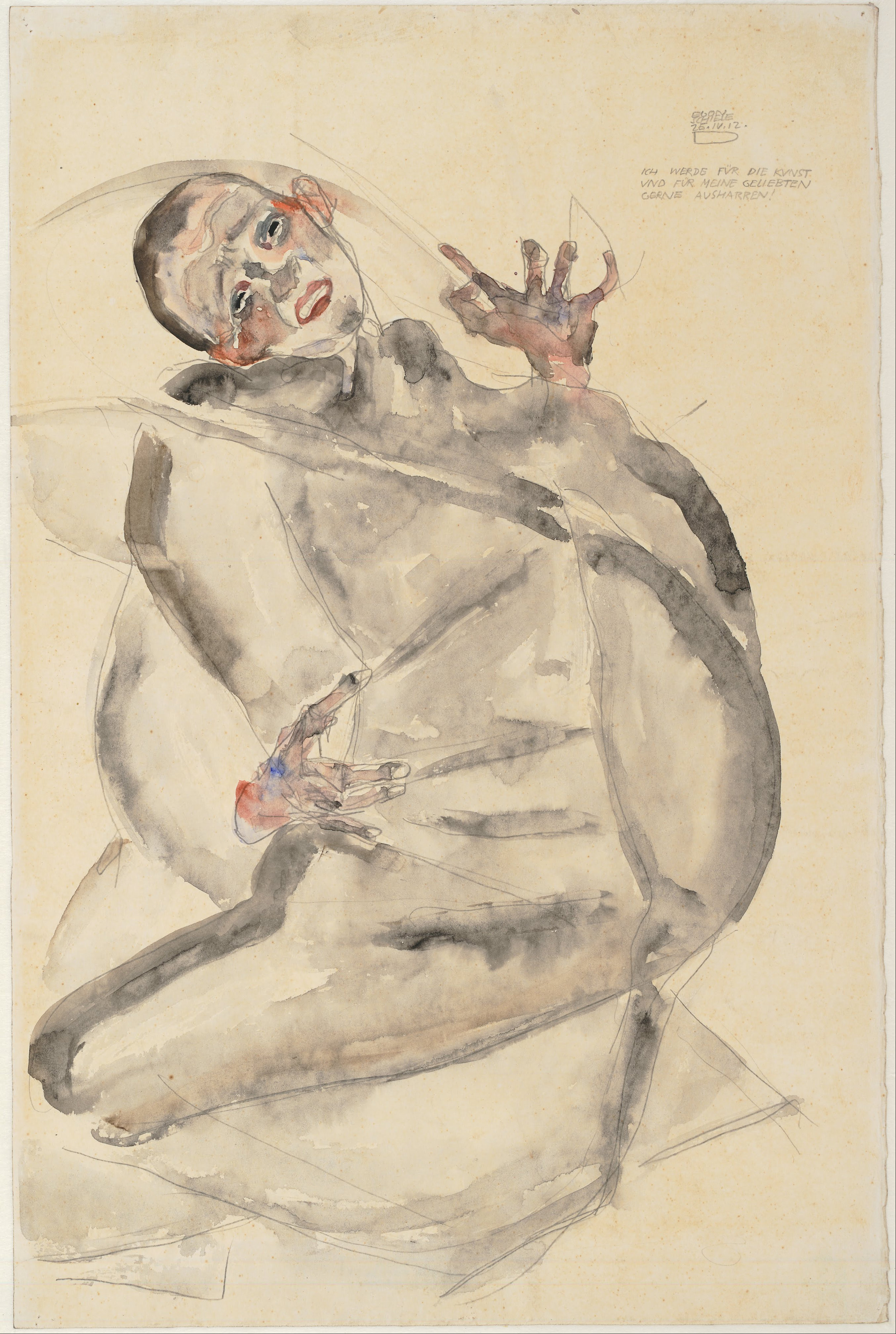 """Egon Schiele, """"I Will Gladly Endure for Art and My Loved Ones I Will Gladly Endure the End!"""" (1912)"""