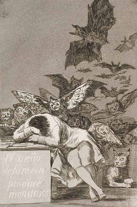 """Francisco José de Goya y Lucientes, """"The sleep of reason produces monsters"""" (No. 43), from Los Caprichos (c. 1797)"""
