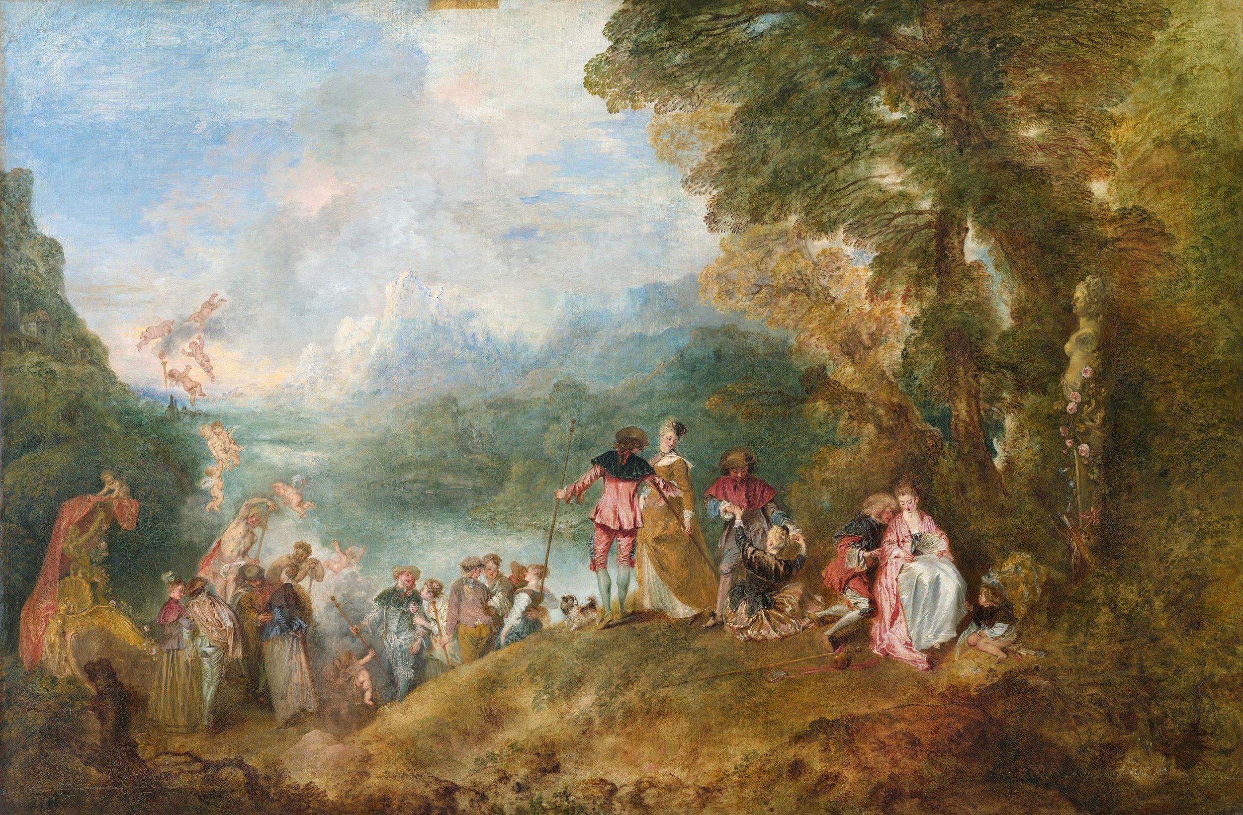 "Jean-Antoine Watteau, ""Pilgrimage to the Island of Cythera"" (1718-19)"