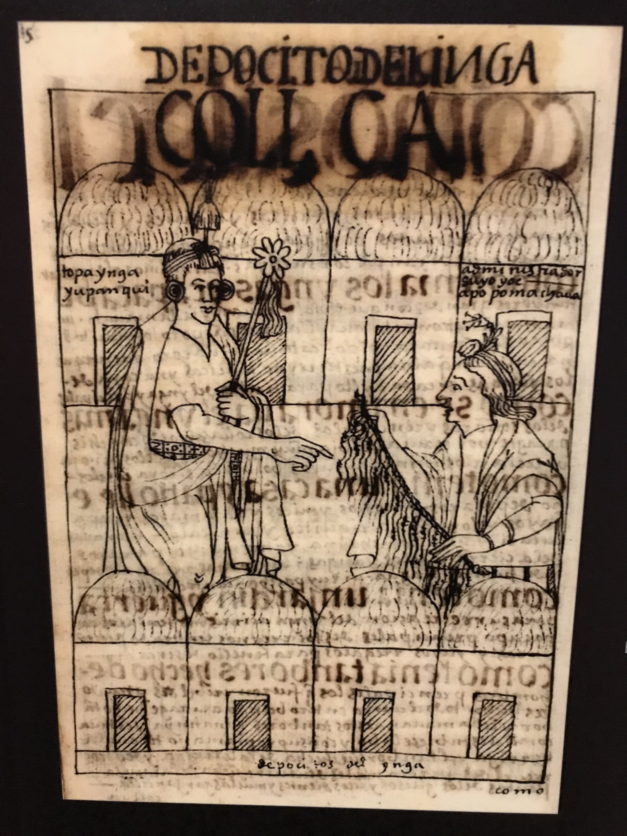 A quipu record-keeper (khipukamayuq) reporting on the contents of the royal storehouses to the Inca king Tupac Yuanqui, who ruled the empire from 1471-1493.  Drawing by the artist and chronicler Felipe Guaman Poma de Ayala (Quechua, about 1535-after 1616), 1615.  Currently on view at the Museum of Fine Arts, Boston.