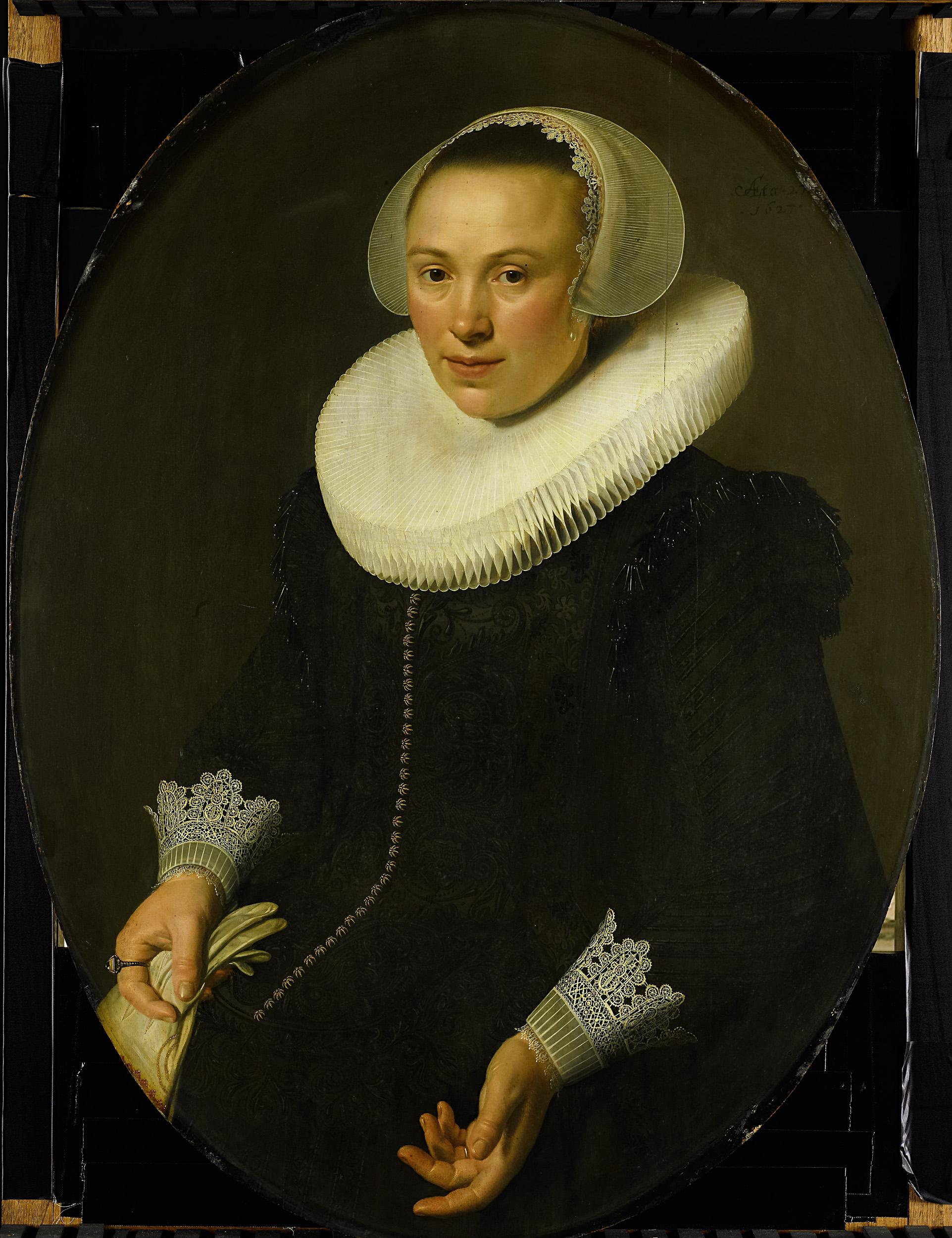 "Nicolaes Eliasz, ""Portrait of Maria Joachimsdr. Swartenhont"" (1627)"