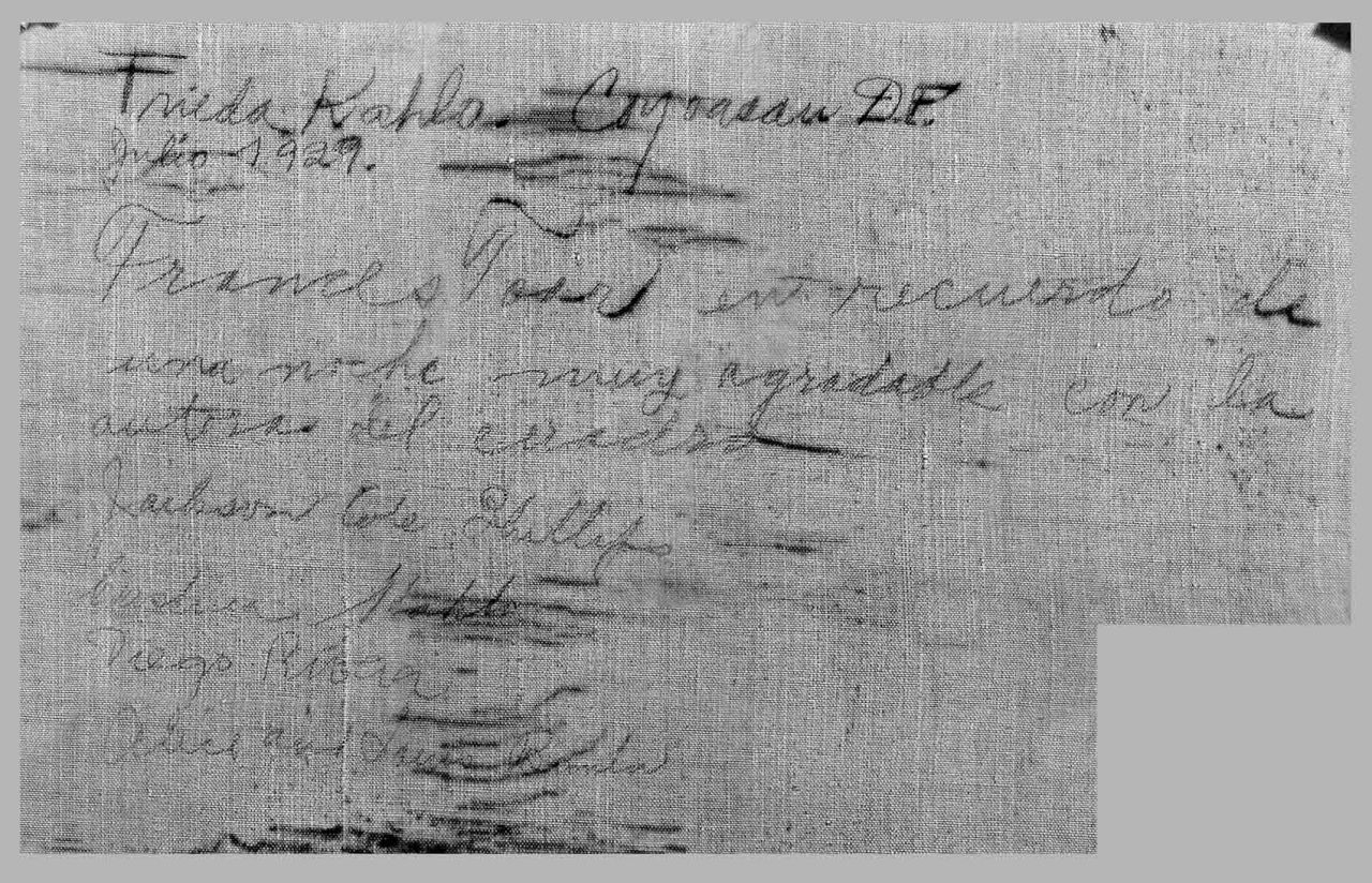 "Inscription of names on the back of the Frida Kahlo painting ""Dos Mujeres (Salvadora y Herminia) (1928).""  (via  Andrea Shea/WBUR )"