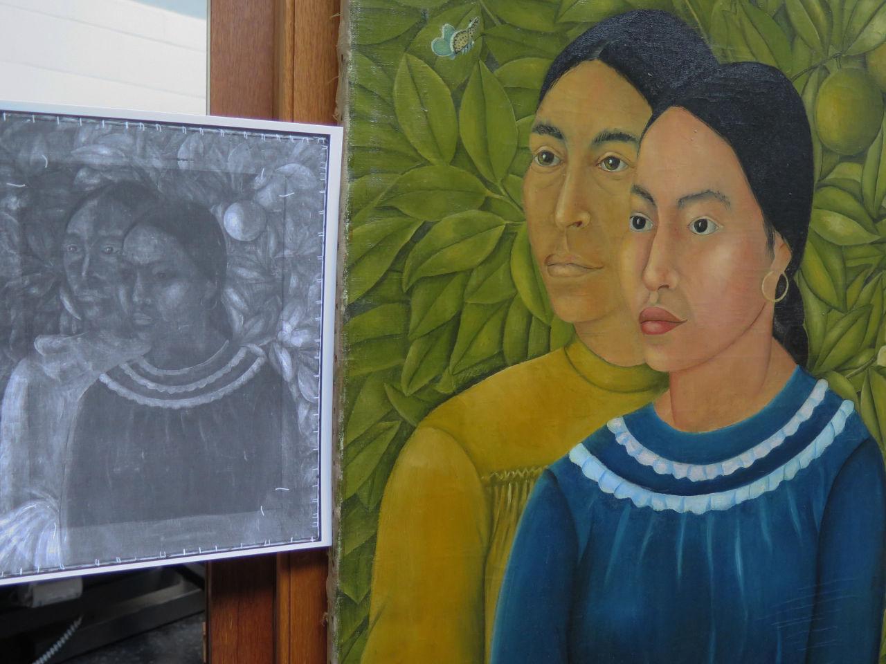 "An infrared copy of the painting next to ""Dos Mujeres (Salvadora y Herminia) (1928)."" (via  Andrea Shea/WBUR )"