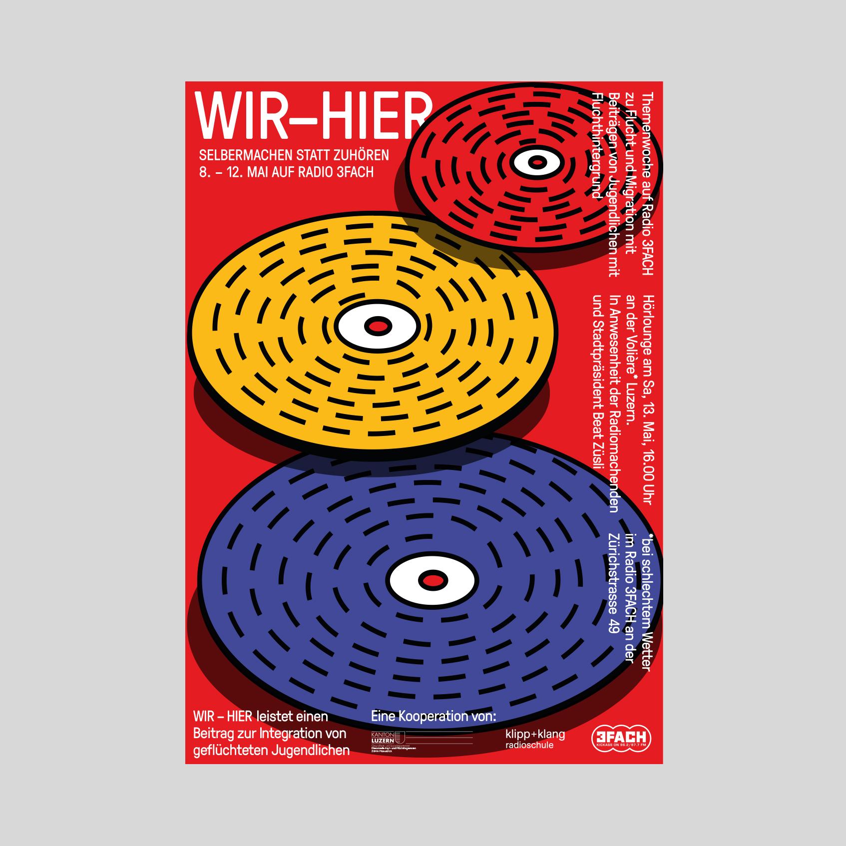 3FACH / Radioschule Klipp & Klang – Flyer «Wir–Hier» | 2017