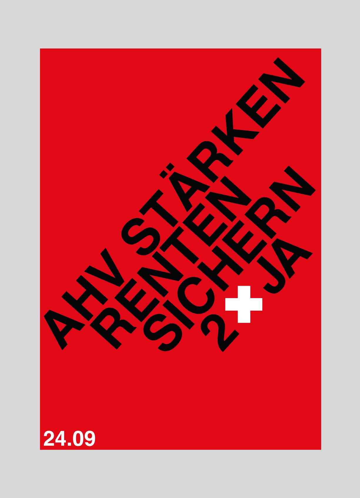 Gewerkschaftsbund SGB – Altersvorsorge 2020   2017   Abstimmungsplakat für ein JA zur Altersvorsorge 2020.