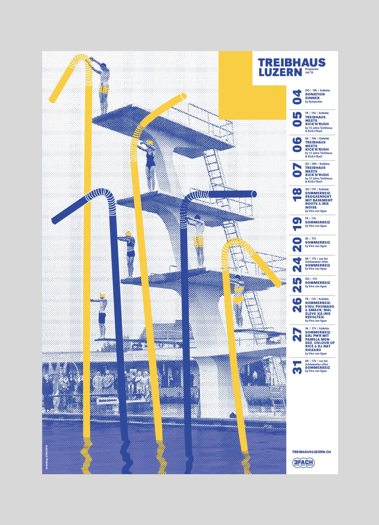 Treibhaus – Monatsplakat Juli   2019   Jugendhaus Luzern, Plakate jeweils von verschiedenen Grafikern gestaltet.