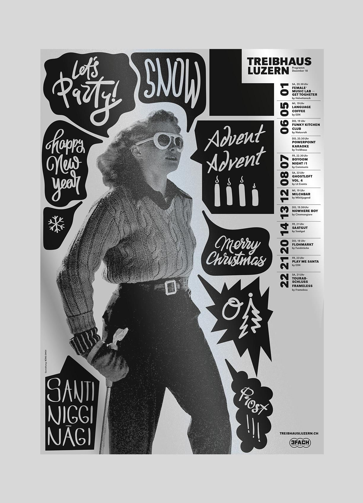Treibhaus – Monatsplakat Dezember   2018   Jugendhaus Luzern, Plakate jeweils von verschiedenen Grafikern gestaltet.