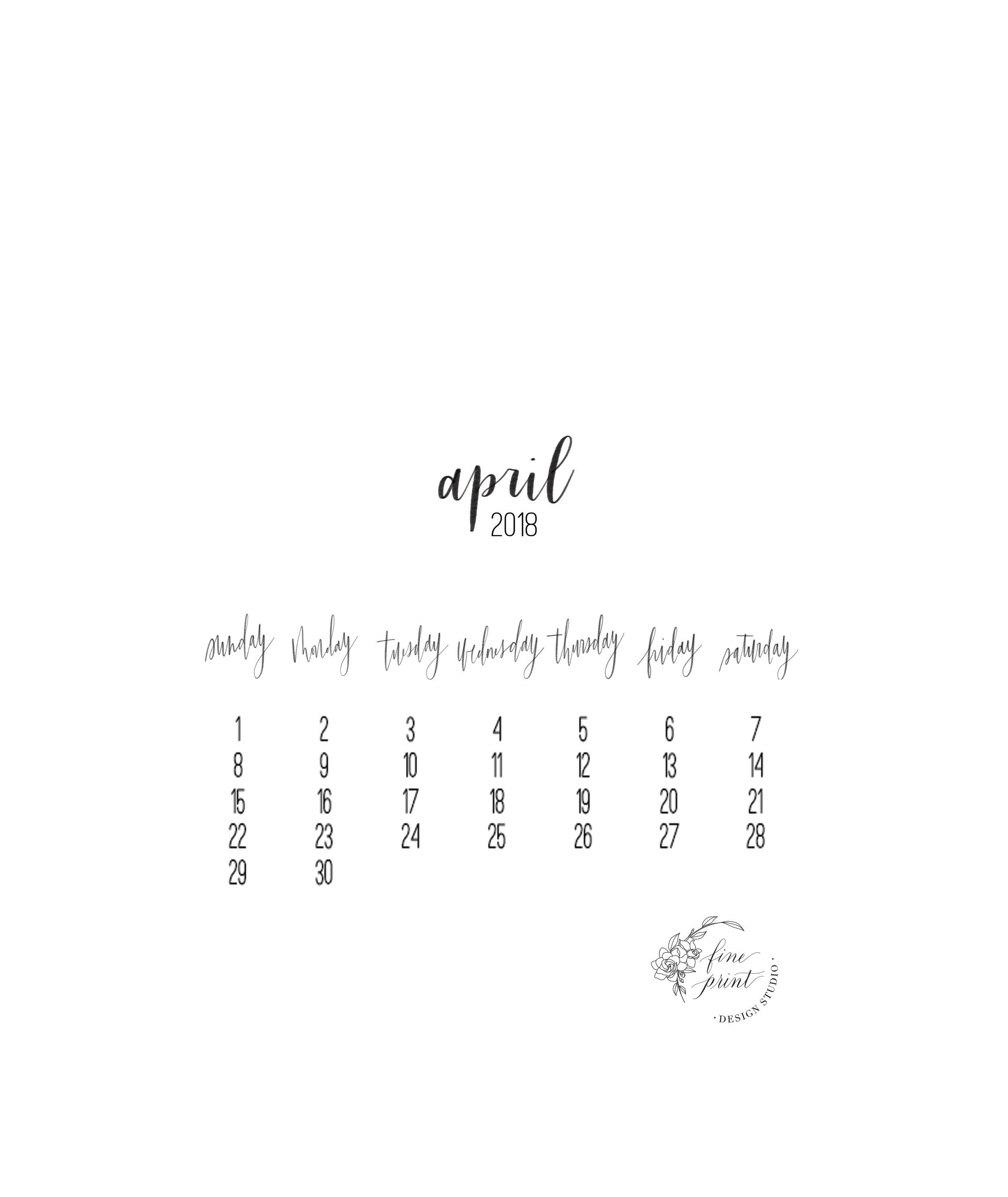April 2018 Calendar(Mobile) - DOWNLOAD HERE