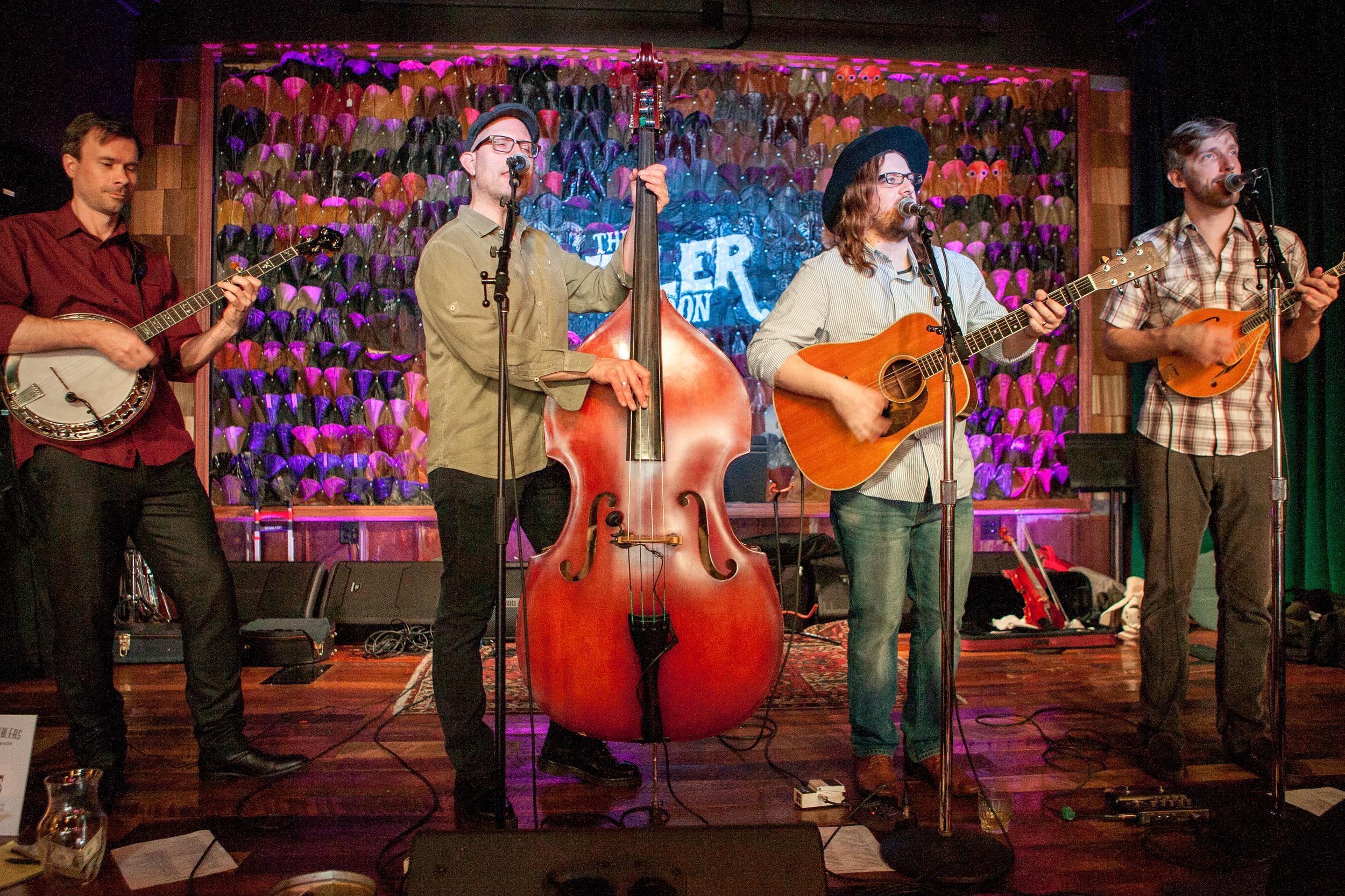 Charles Butler (Banjo), Dean Marold (Upright Bass), Adam Dalton (Guitar & John Beck (Mandolin) performing at The Sutler in Nashville, TN.