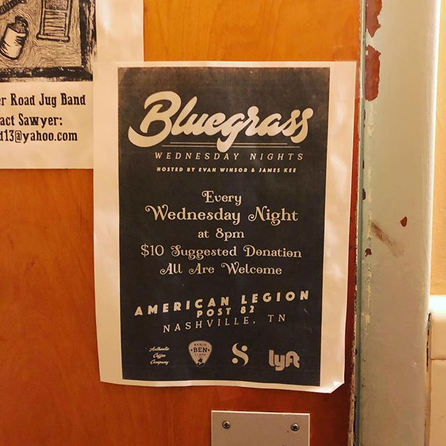 The writing was written on the bathroom wall! See you tonight at @bluegrasswednesday! #bluegrass #americana