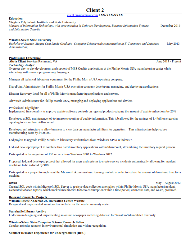 Information Technology (IT) Original Resume