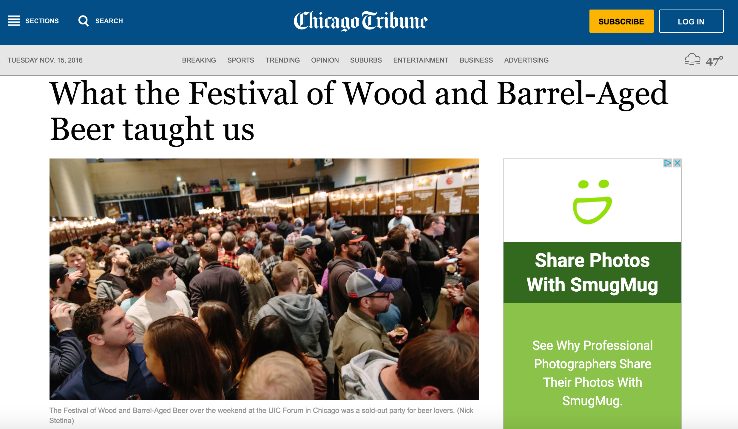 A recent photo featured in the Chicago Tribune.