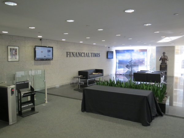 The lobby at the Financial Times