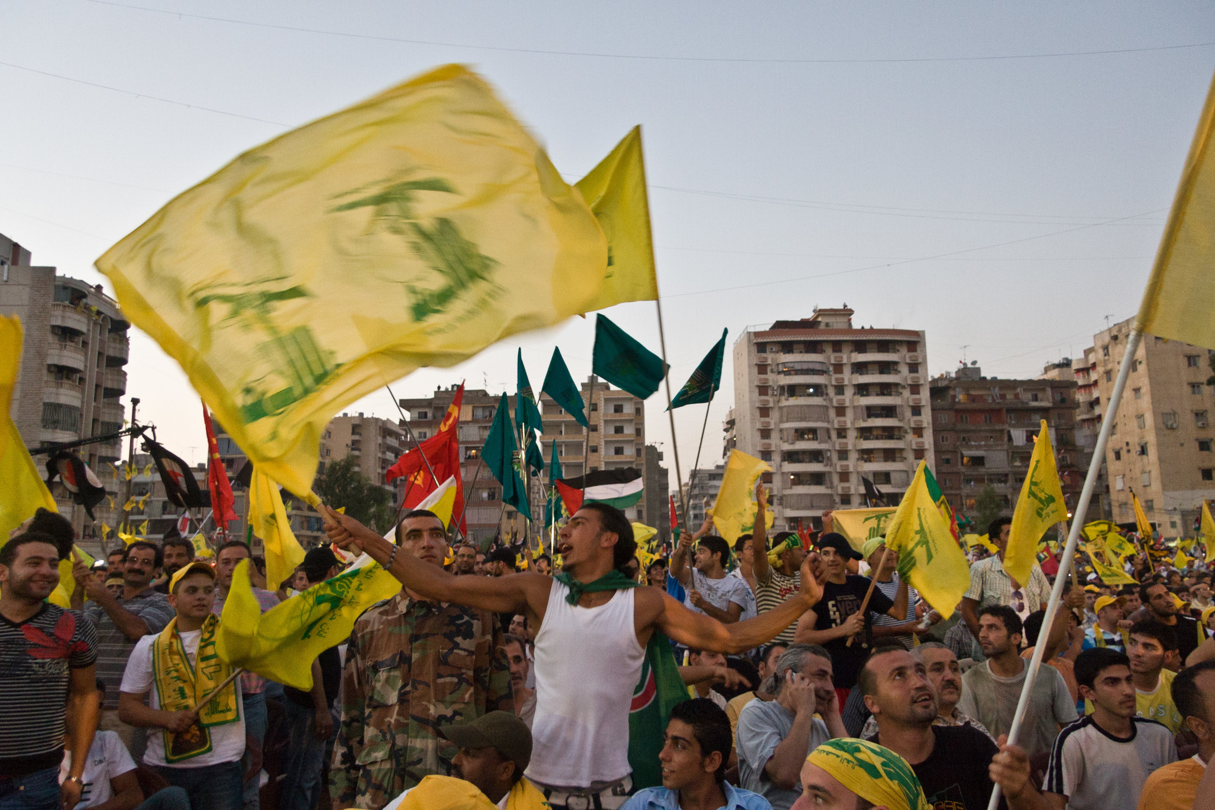 A Hezbollah supporter at a rally for a prisoner exchange between Hezbollah and Israel.