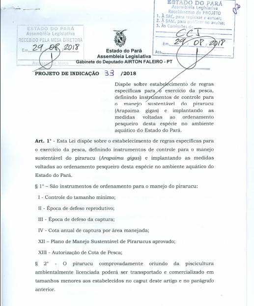 Projeto de lei que regulamenta pesca do pirarucu