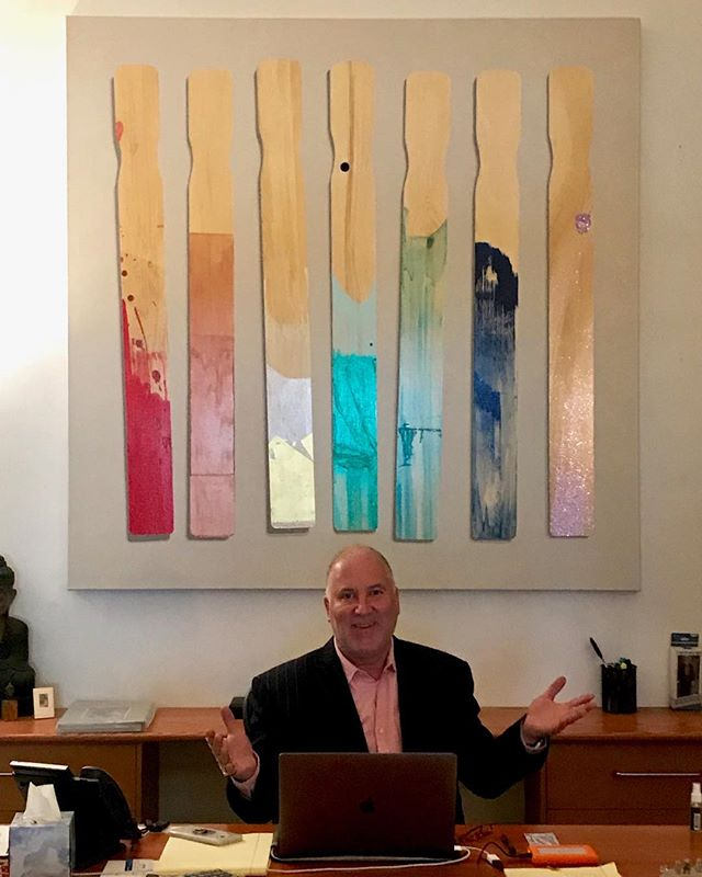 "Commissioned ""Paint Sticks #19"" hanging in NYPS Headquarters  Thank you John Grossman"