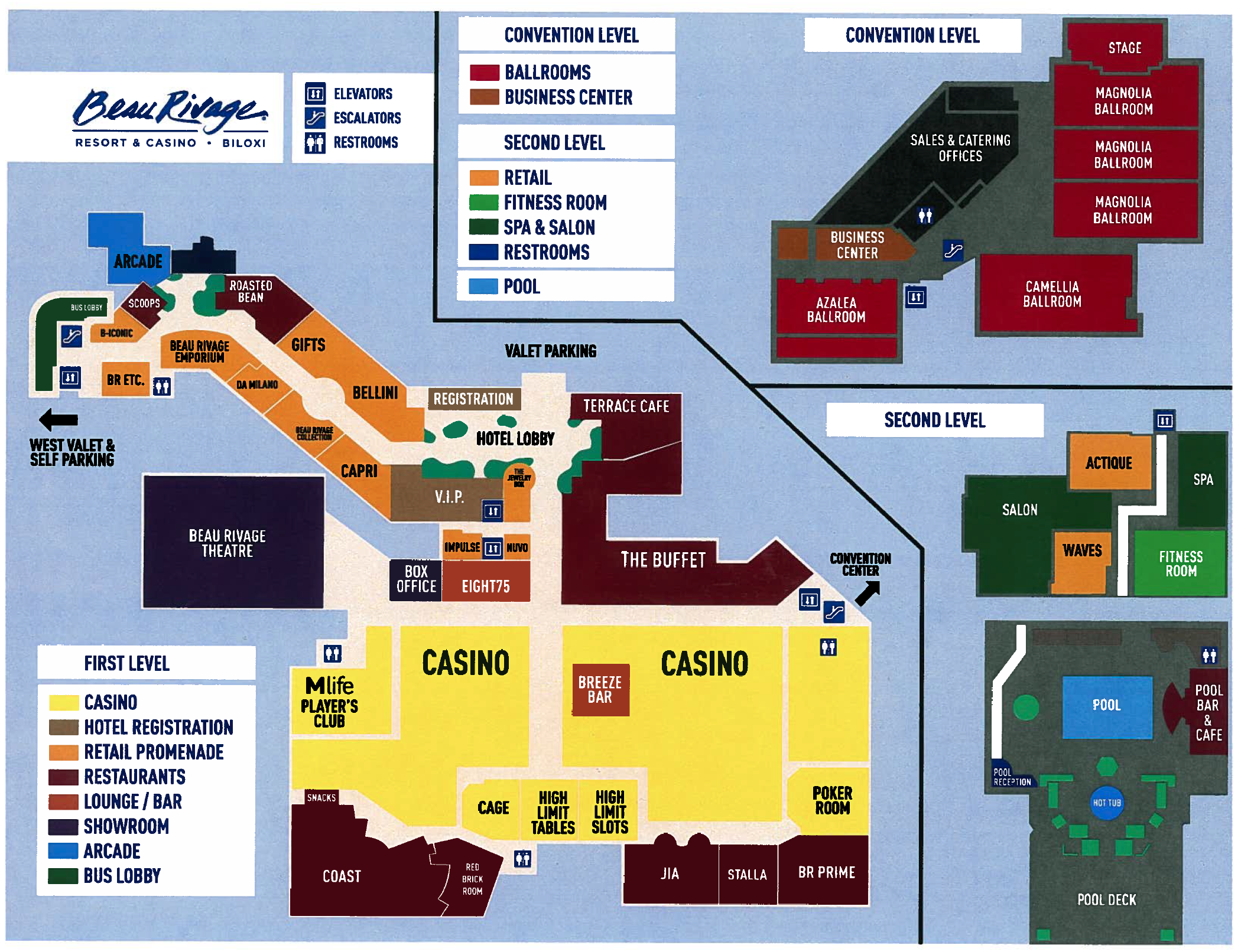Resort site map of the Beau Rivage