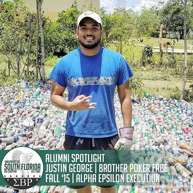 The Mu Mecca Chapter would like to recognize one of our newest alumni, Mr. Justin George (Brother Poker Face). Following his graduation, Justin went on a community service trip to the Dominican Republic! He promoted sustainability by engaging in a local initiative to build a school community center out of over 7,000 plastic bottles! #ΣΒΡ #MuMecca #Service