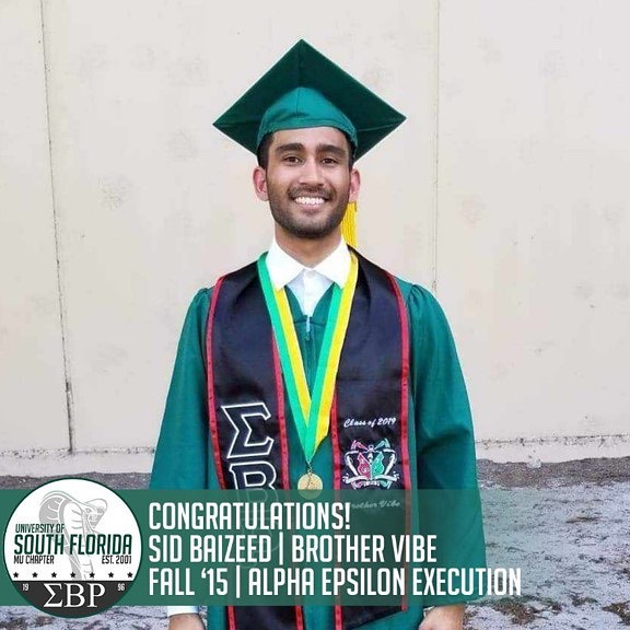 The Mu Mecca chapter would like to congratulate our graduates from this past weekend: Sid Baizeed (Brother Vibe) - B.S. in Health Sciences Justin George (Brother Poker Face) - B.S. in Biomedical Sciences and Economics w/ minors in Psychology and Astronomy  Aneel Jani (Brother Priceless) - B.S. in Finance Zain Rahmat (Brother Shadowborg) - B.S. in Cell and Molecular Biology and B.A. in Chemistry w/ a minor in Psychology  Jeffrey Joppen (Brother Sisyphus) - B.S. in Biomedical Sciences Gil Immanuel (Brother Acheron) - B.S. in Biomedical Sciences  The work you have put in for this chapter will never go unnoticed. We wish you guys the best of luck with your future endeavors! #ΣΒΡ #MuMecca #SigRhoScholars