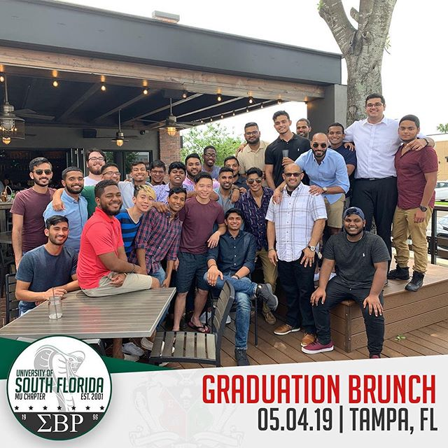 The brothers of Sigma Beta Rho had a great time celebrating the end of the semester at brunch yesterday. Congratulations to all those who graduated this semester and thank you to all the alumni that came through to celebrate with us! #ΣΒΡ #MuMecca #Brotherhood