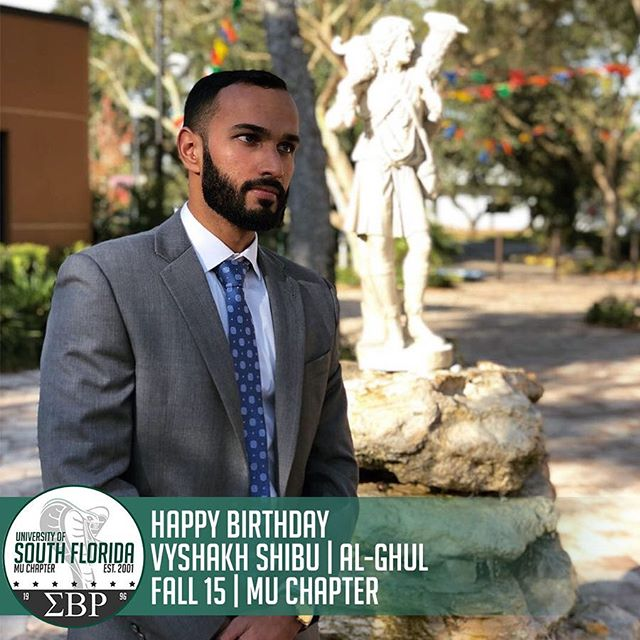 The Mu Mecca Chapter would like to wish a Happy Birthday to Mr. Vyshakh Shibu, Brother al-Ghul, of Fall '15. Throughout his time as an undergrad, Vyshakh maintained a 4.0 GPA and has been very influential to the current chapter! #ΣΒΡ #MuMecca #LDK