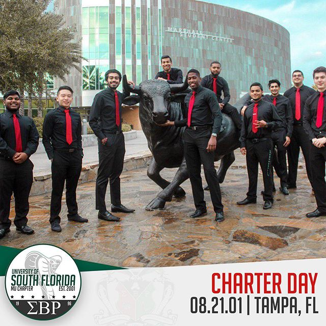 On August 21st, 2001, four strong men established Sigma Beta Rho at the University of South Florida dreaming of establishing a Fraternity which was blind of race, religion, or ethnicity: A Brotherhood Beyond All Barriers. Upon the three pillars of Society, Brotherhood, and Remembrance. The Mu Chapter has grown into a culturally diverse family, with over 130 brothers from over 23 nations.  We would like to wish all of our brothers a Happy Charter Day! Heres to 18 years at USF! #ΣΒΡ #MuMecca