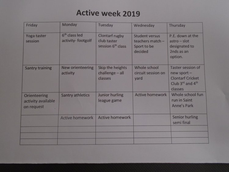 A sneak peek at our timetable for this years's Active School Week (2019).
