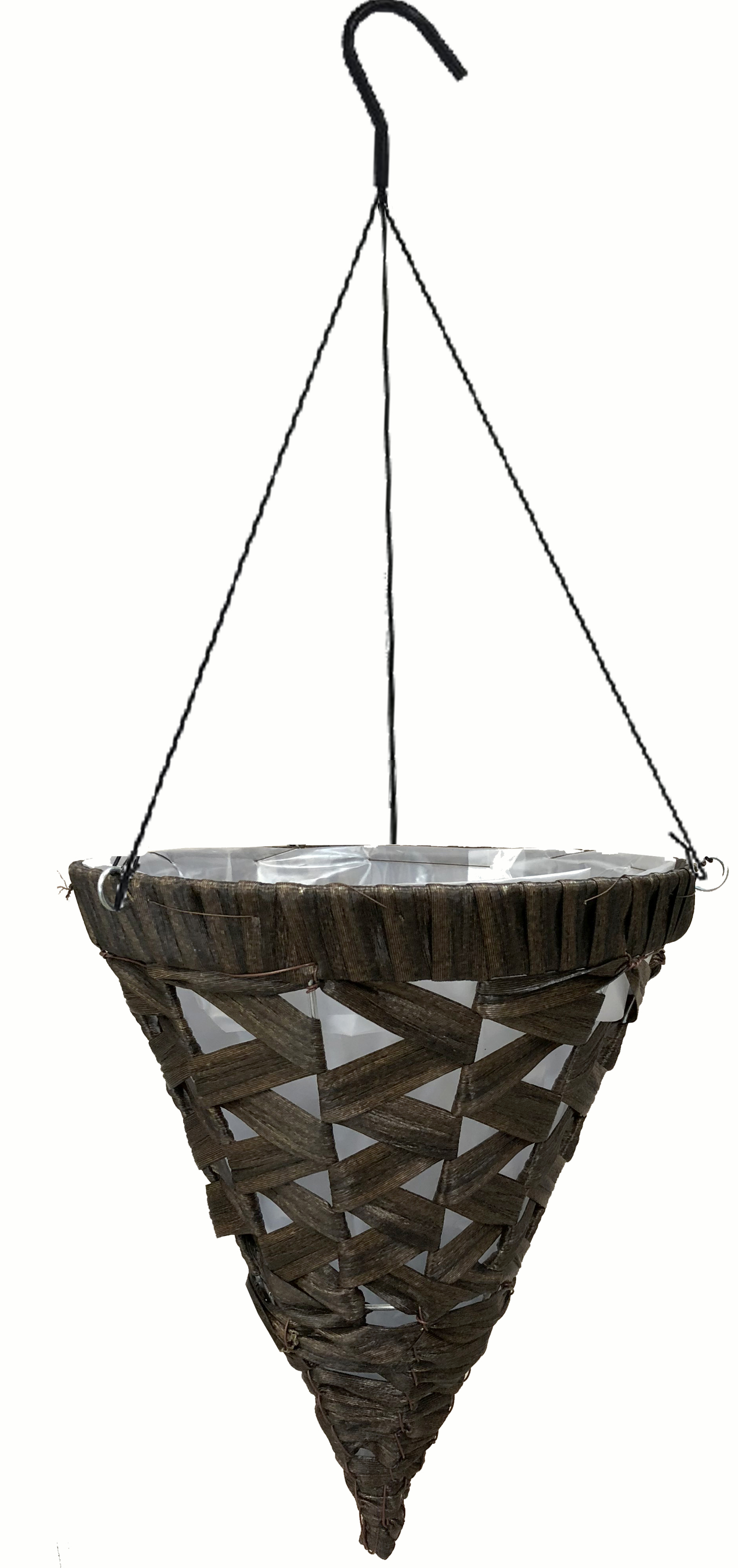 black coffe wicker cone with wire hager.jpg