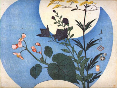Autumn Flowers in Front of a Full Moon by Hiroshige