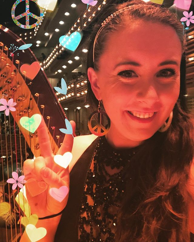 #peaceandlove from tonight #60s for tonight's concert with @miamisymphony at the @arshtcenter with cross-over director @rudyperezmusic 🎶☮️❤️ #twogownkindofday 👗👗 #orchestra #harp #miamimusic #rudyperez #blastfromthepast 👩🏻‍🎤