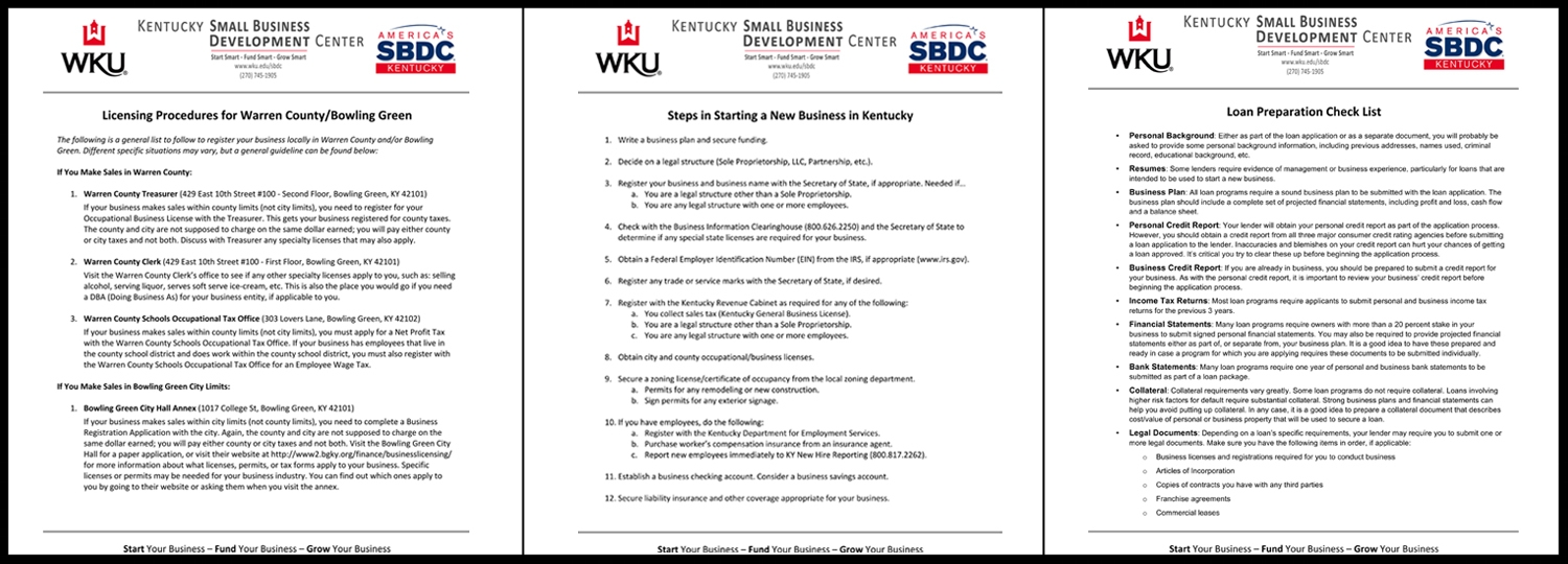 WKU SBDC: Educational Materials (Layout, Content, and Graphics)