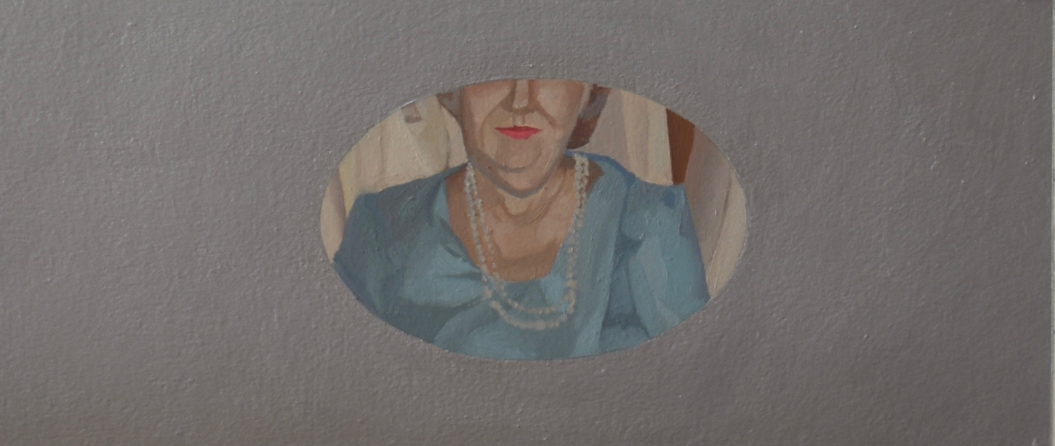 Portrait of Advancing Years  2015, oil, aluminum powder, and marble dust on Arches, 12 in. X 4 in.  Frames have been a recurring theme on my easel. I was particularly interested in how the silver paint reacted to the light, allowing the real world to alter the appearance of the miniature portrait at its center. This painting embodies exclusion and hyper-focus, encircled by a thick metallic plane.