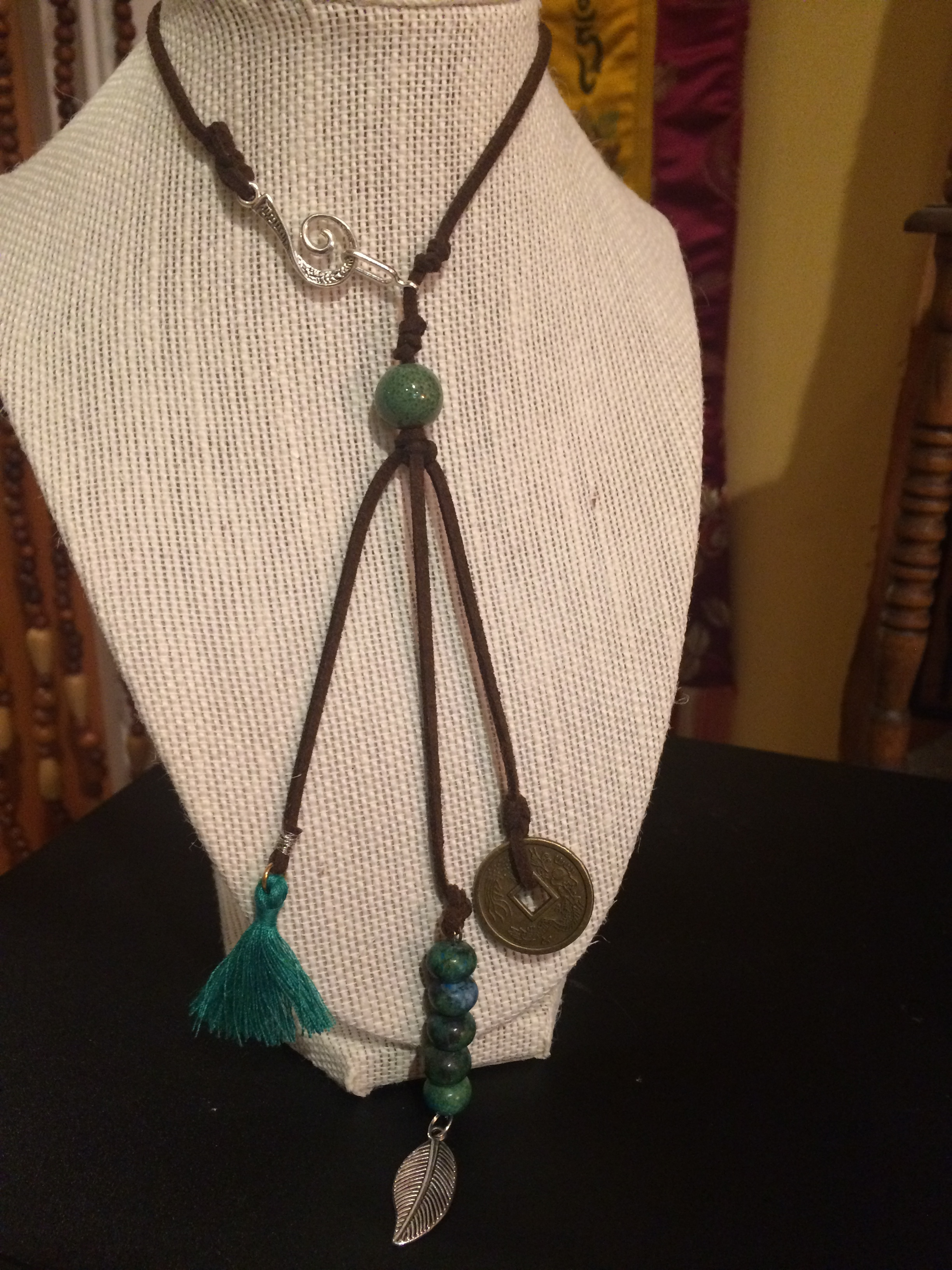Front-Clasp Leather Necklace with Green Ceramic Bead, Green River Jasper Beads, and Brushed Gold and Silver Charms: #14