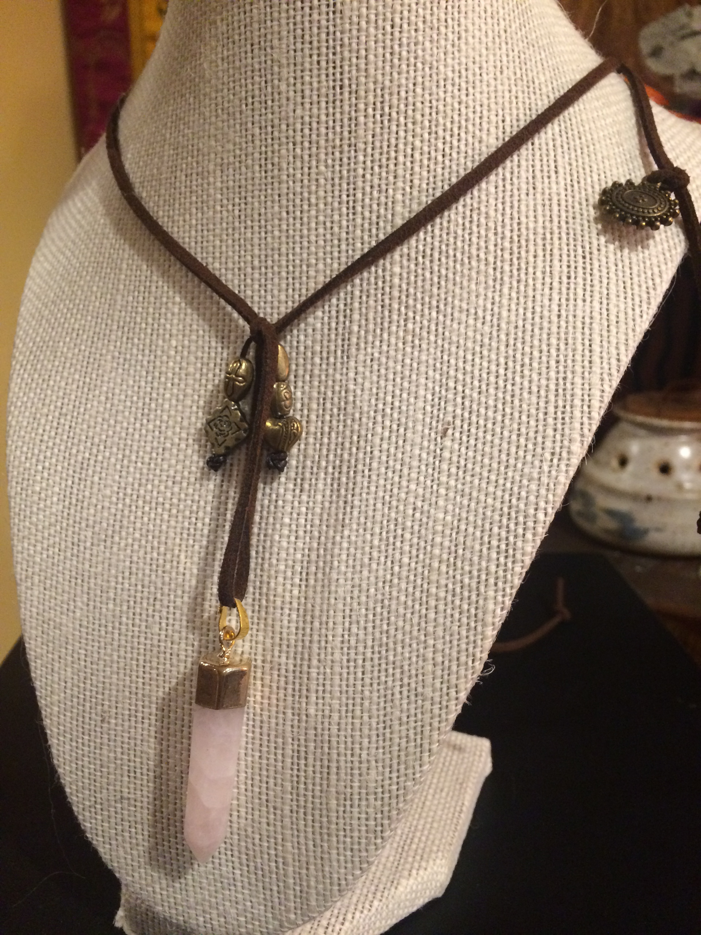 Leather Back-tie Necklace with Brushed Gold Charms and Rose Quartz Crystal: #23
