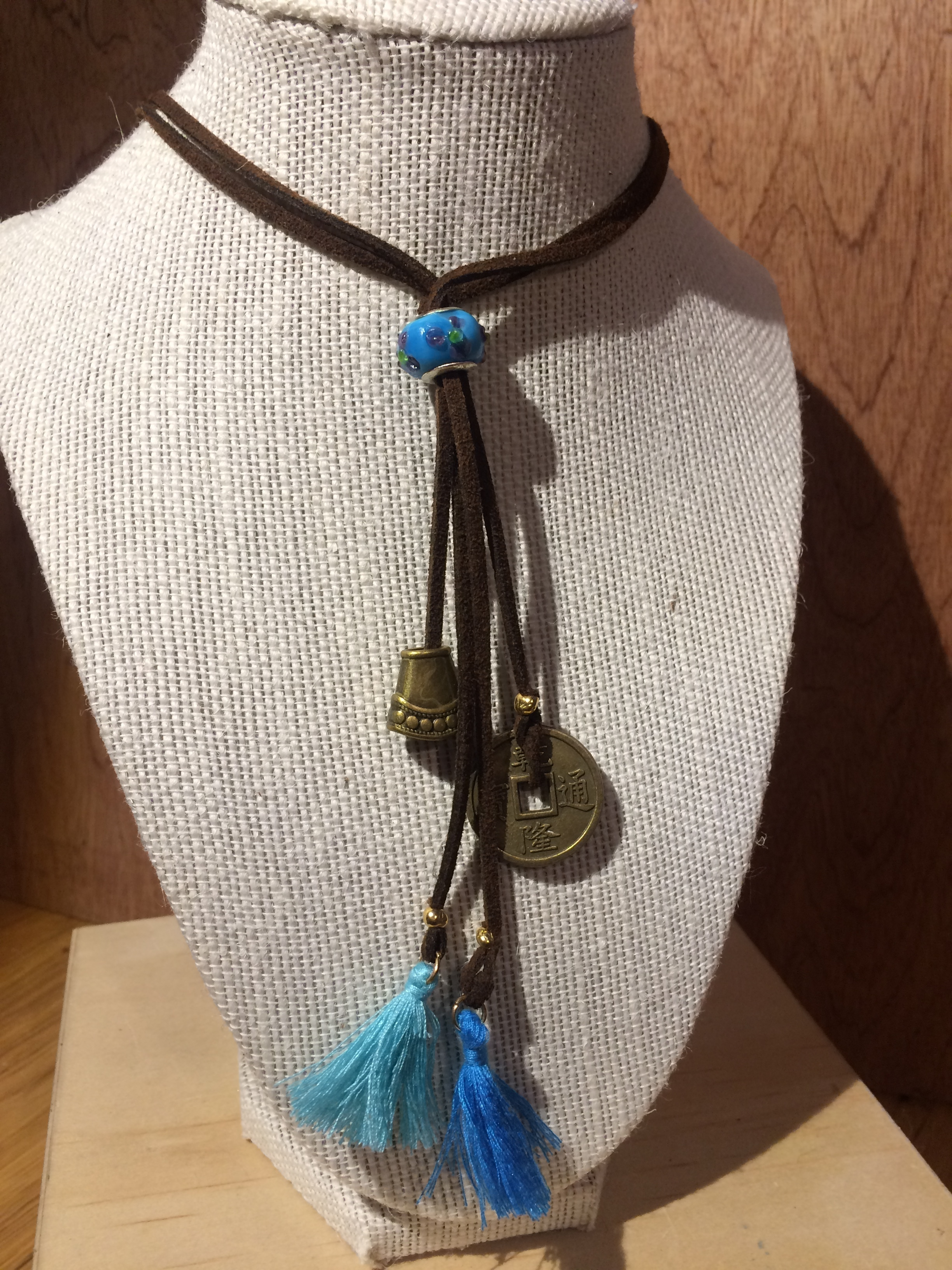 Leather BoHo Long Necklace with Brushed Gold Charms, Blue Glass Bead, and Blue Tassels: #16