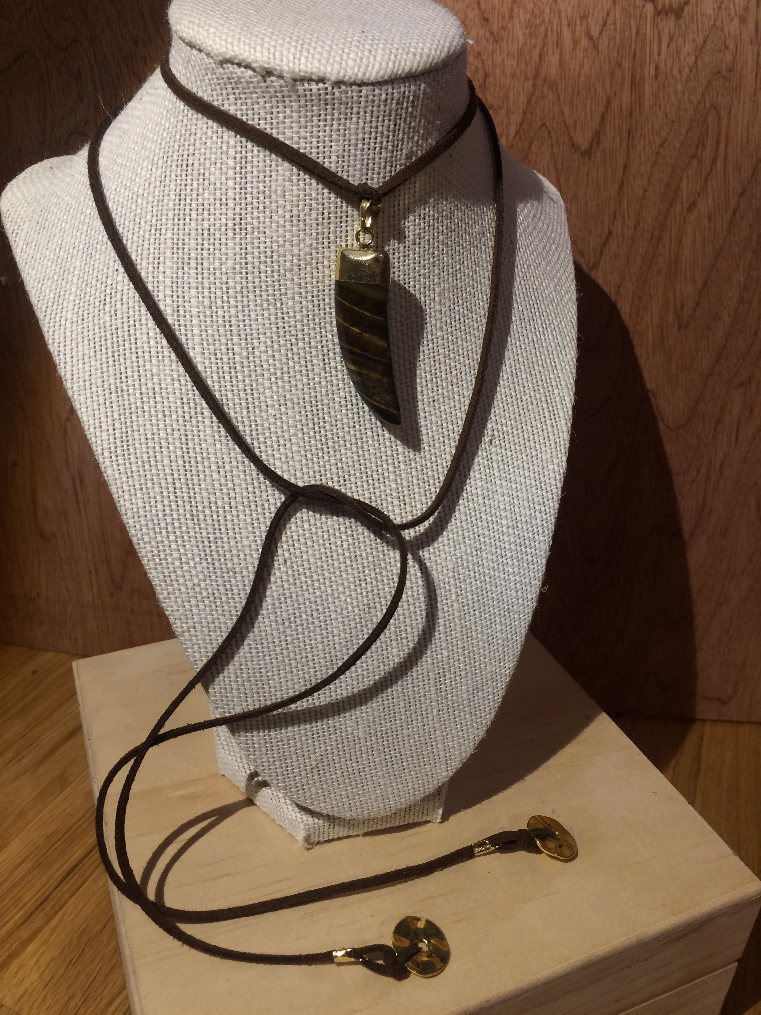 Leather Choker with Tigers Eye Stone Claw & Gold Disks: #19