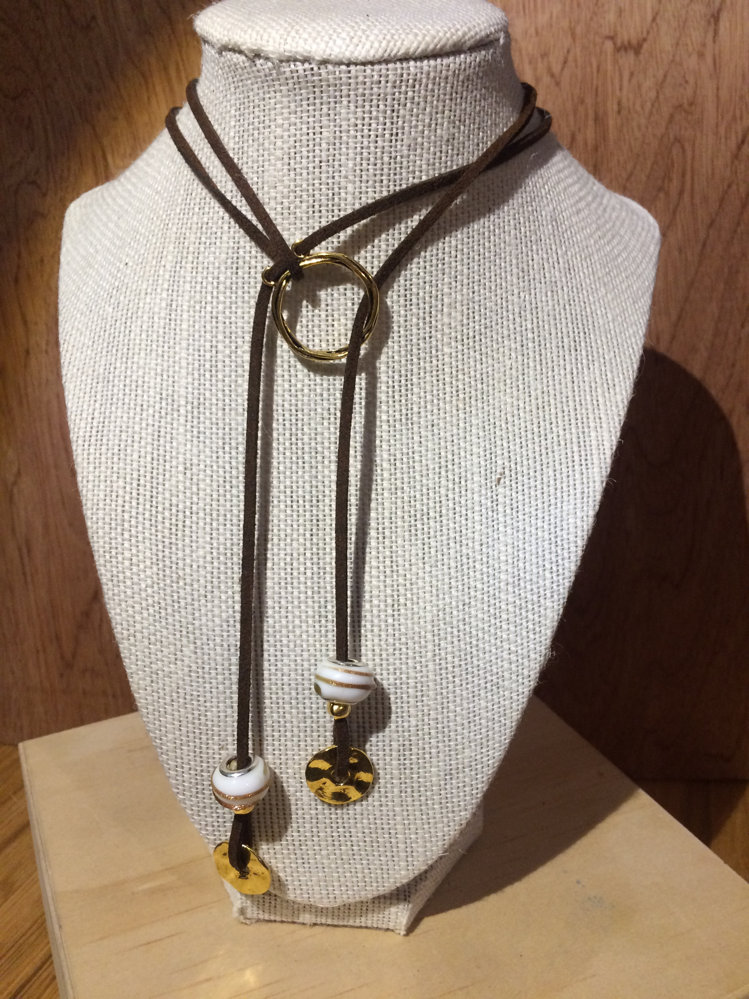 Leather with Gold Loop, Glass Beads & Gold Disks: #31