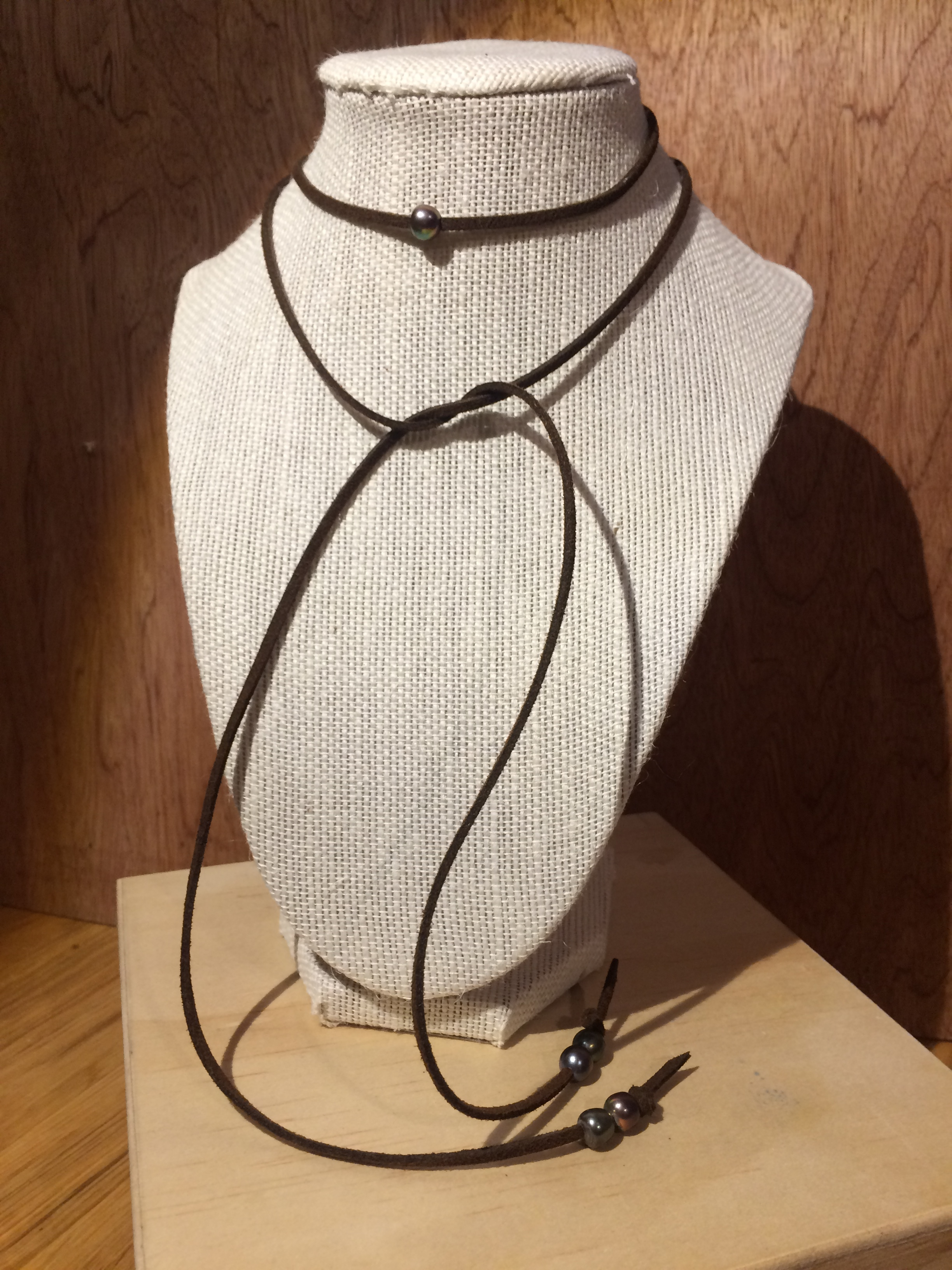 Leather Choker with Iridescent Fresh Water Pearl Beads: #21