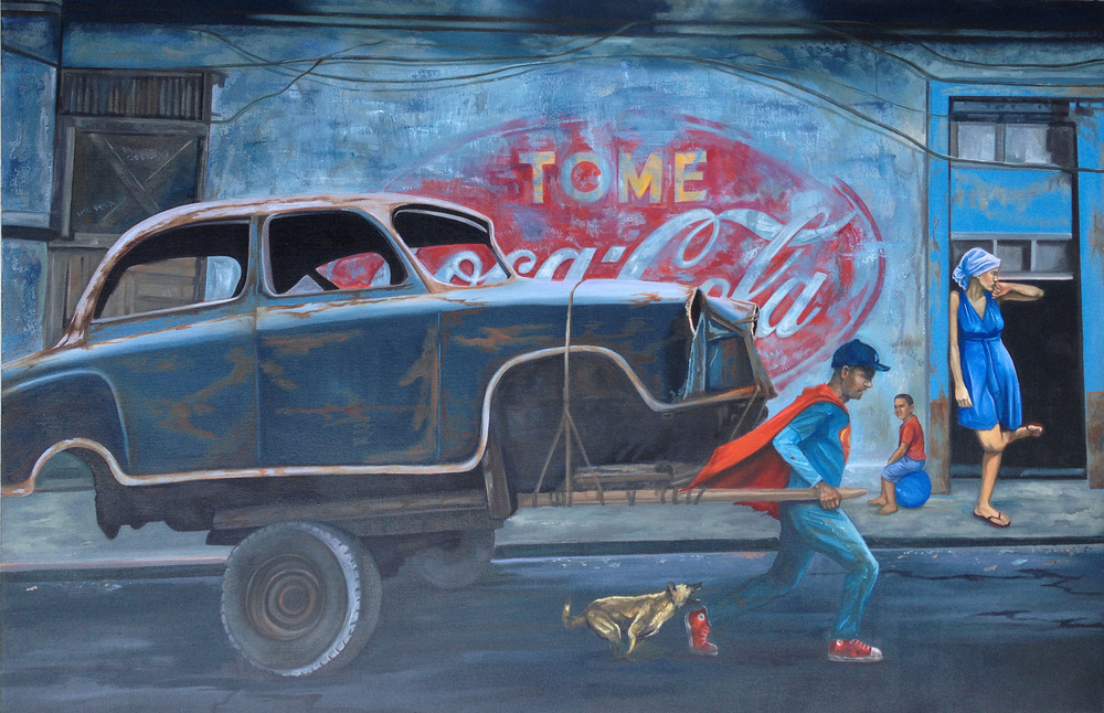 Raul Villarreal    SUPER!     Oil on linen, 48 x 72 inches