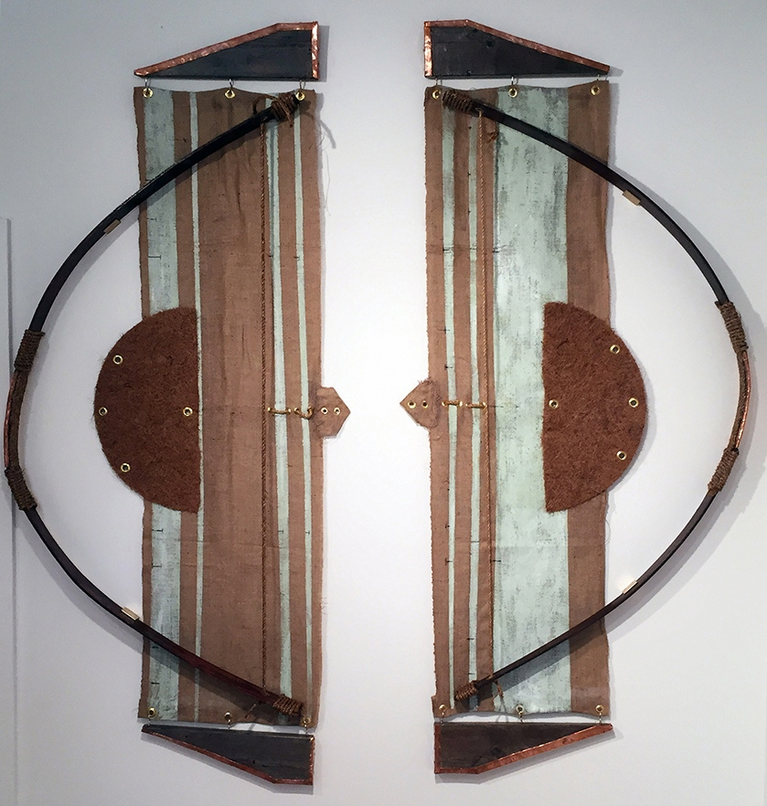 Luis Stephenberg Alers    Force of an Arch  Wood, burlap, coconut fiber, rope, copper, 7' x 6' 6 inches