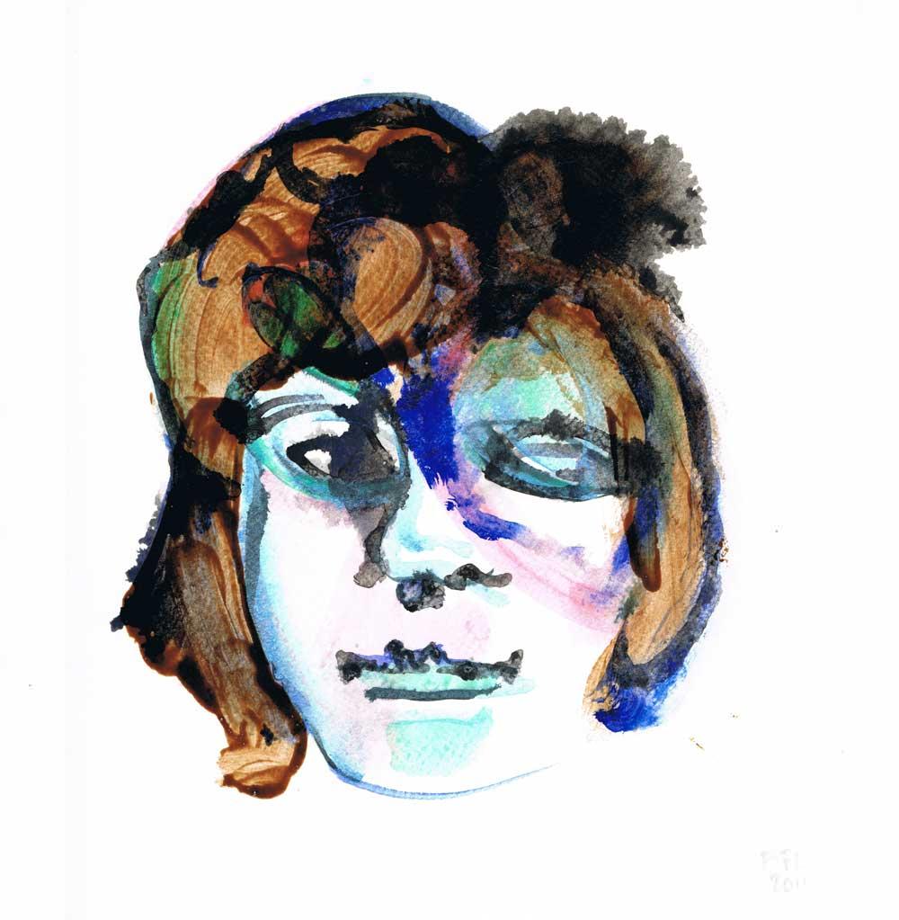 Amanda, nail polish and gouache on paper, 21x29,7cm
