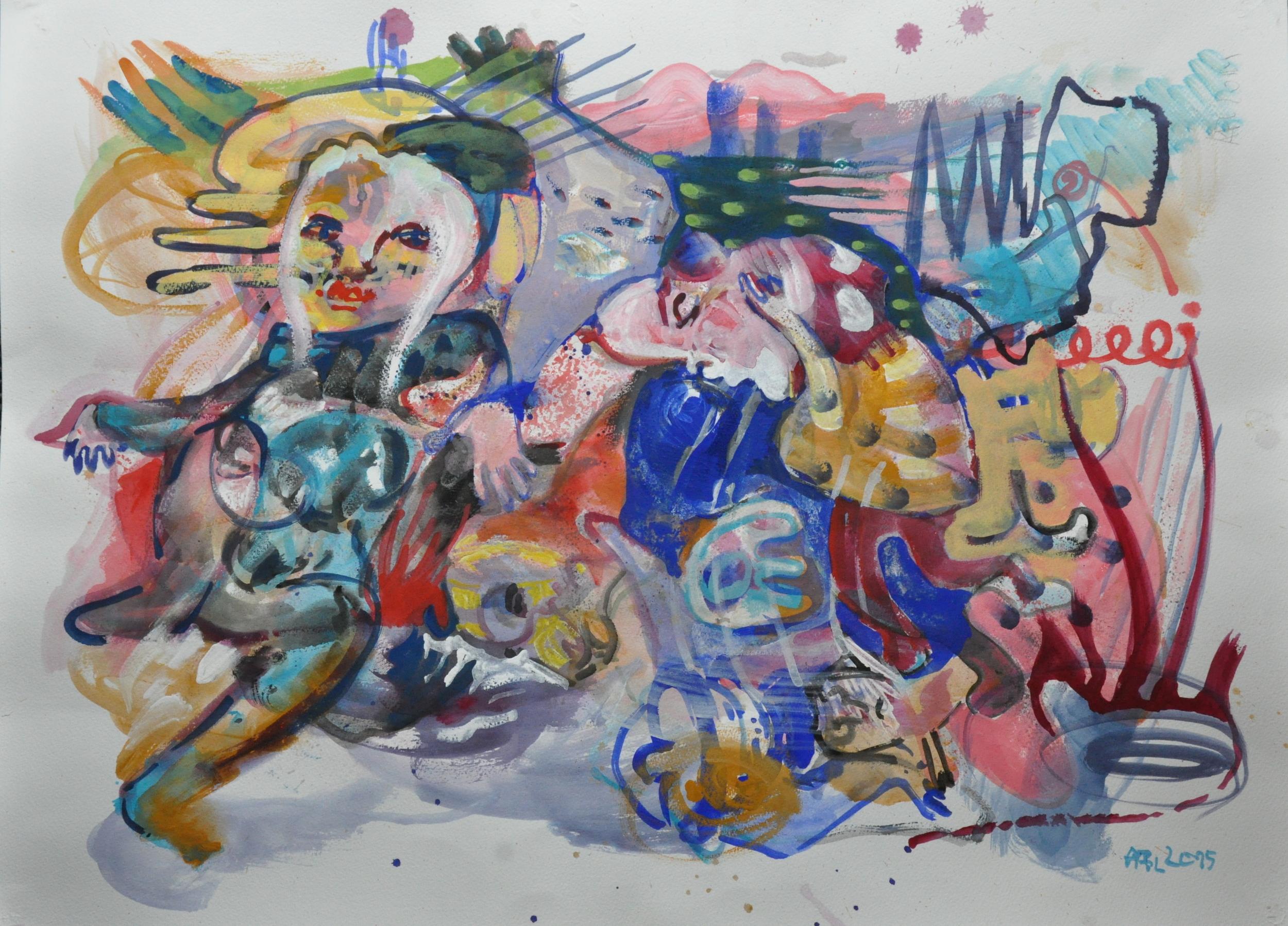 Kassandra, gouache on paper, 56x77cm