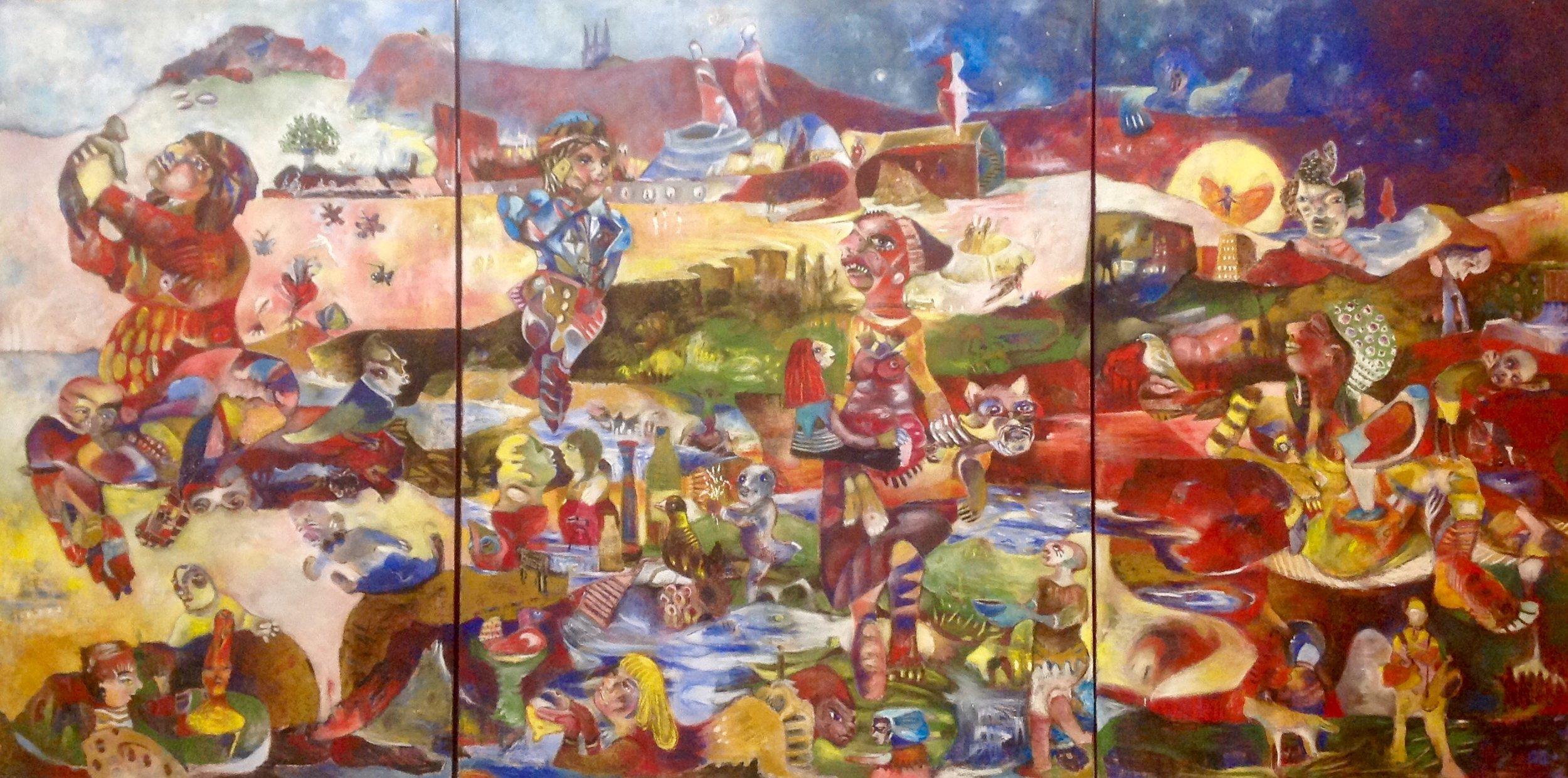 Tyngdekraft, Oil on canvas, 250x500cm
