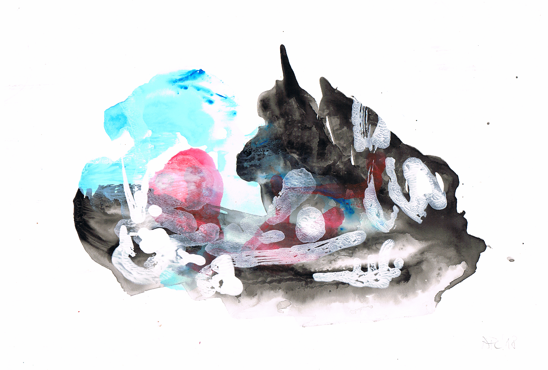 Abstraktion 01-18, gouache on stonepaper, 21x30cm