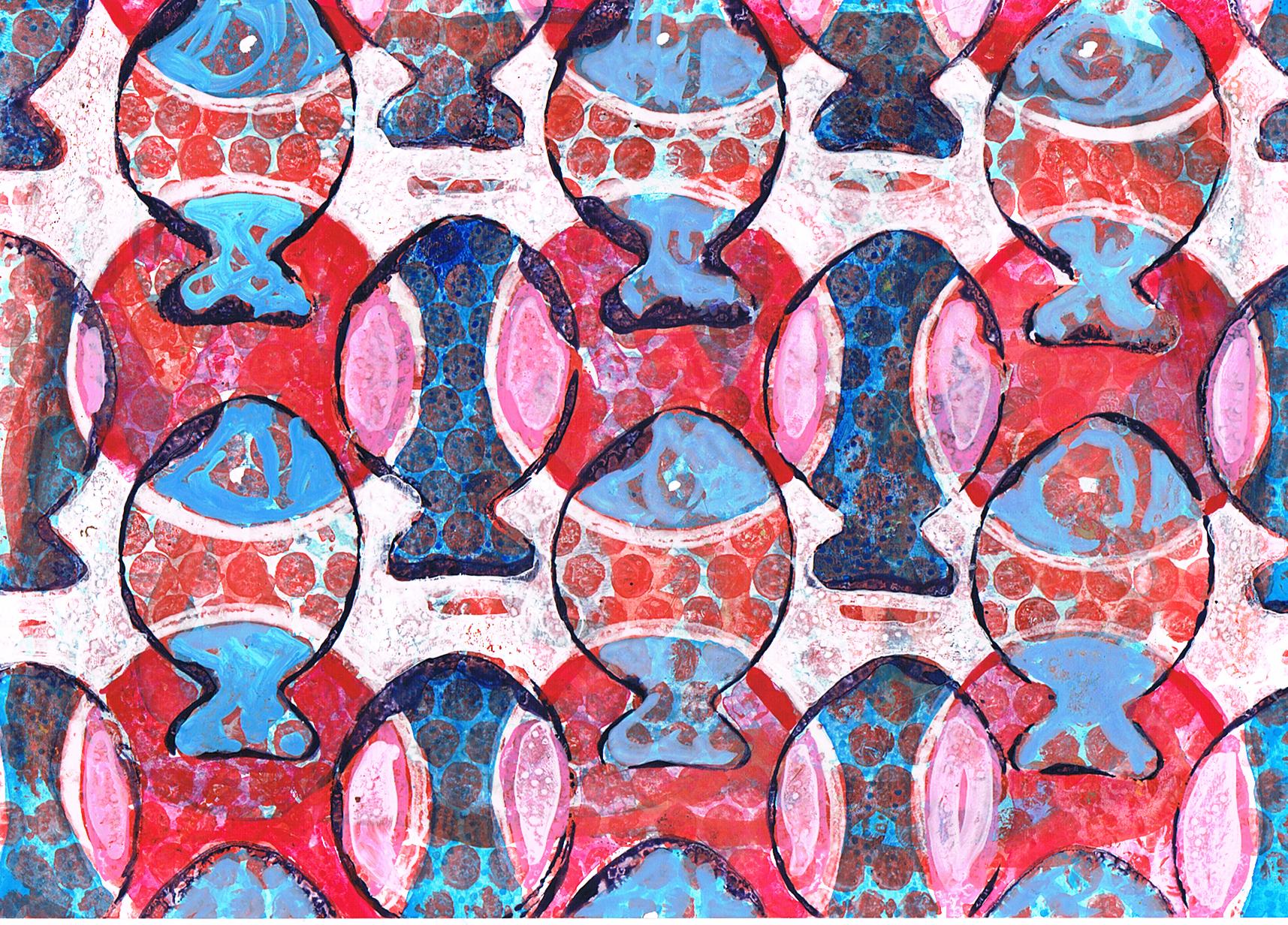Christmasfish, gouache on stonepaper, 21x30cm