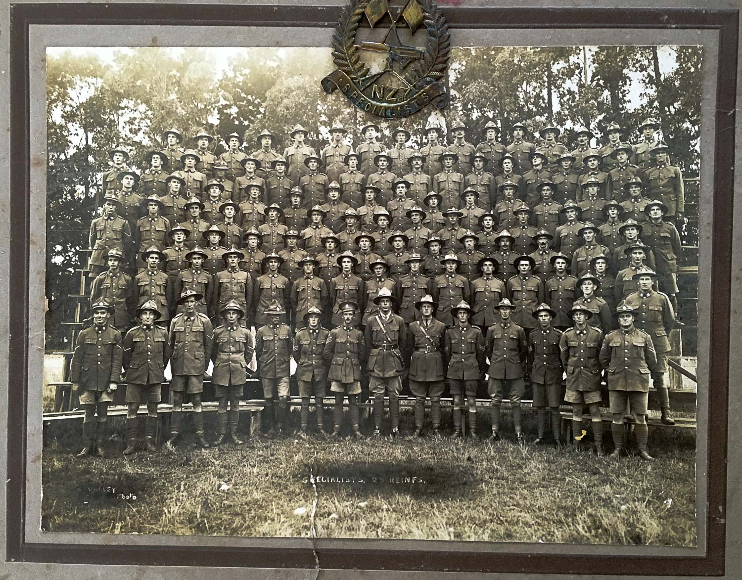 NZ Specialists, 25th Reinforcements, NZ Expeditionary Forces. Featherston Military Camp, NZ. March 1917. Arthur Gordon Taylor, second row from top, fifth in from the left.