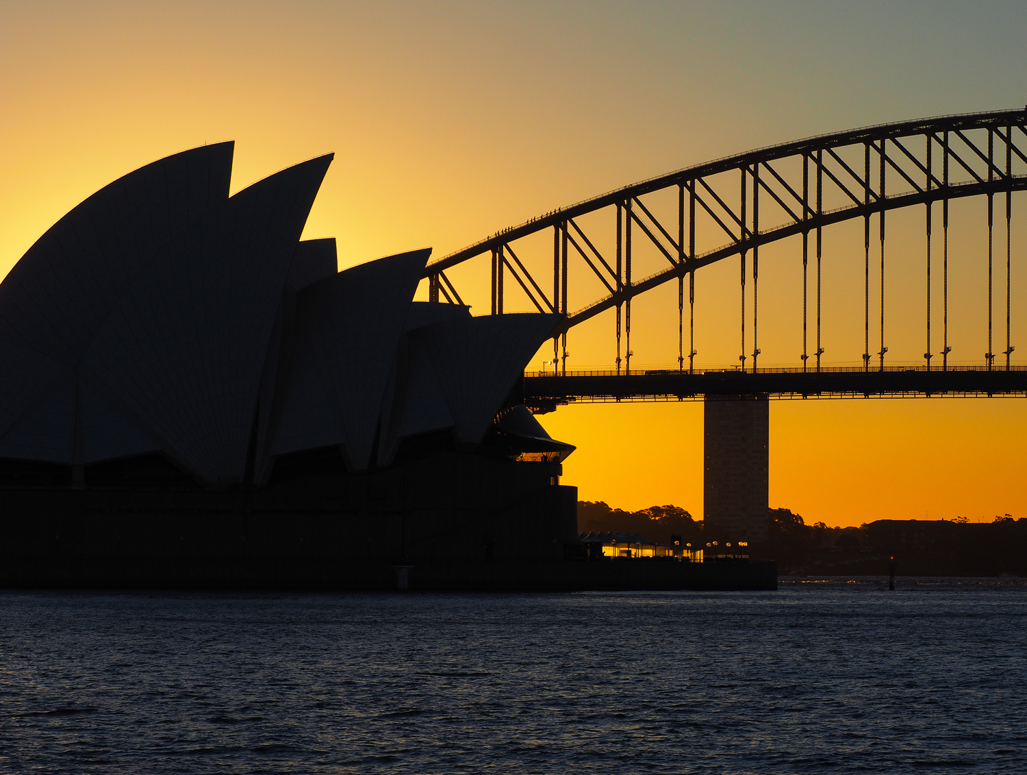 Sydney Opera House and Harbour Bridge in sunset silhouette. 23 May 2016. 1/800sec, f/9, ISO 200