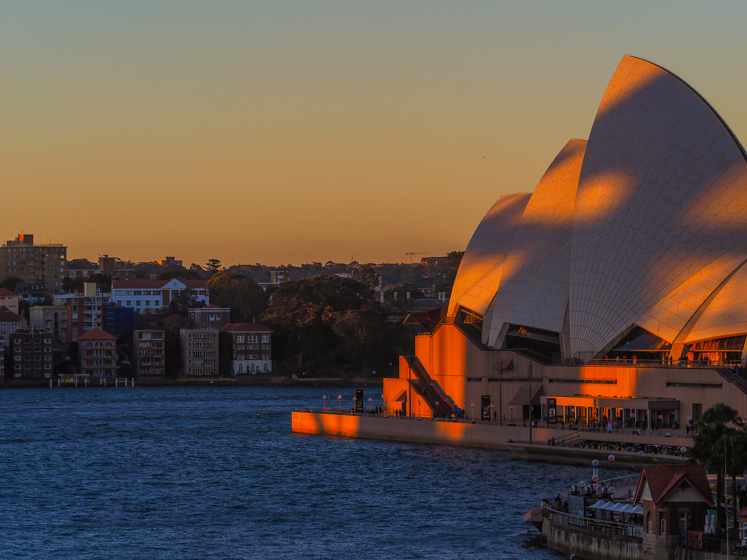 Sydney Opera House in the shadow of the harbour bridge in the very last light of day. 27 May 2016. 1/320sec, f/5, ISO 200