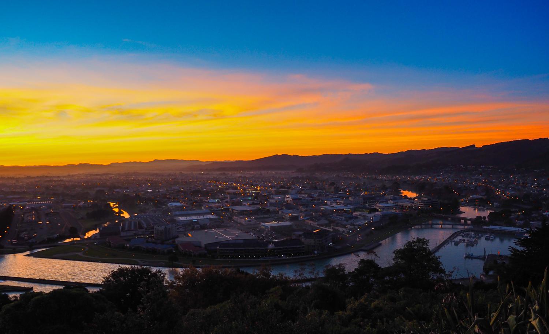 Gisborne at dusk. 1/60 sec, f/4, ISO 200