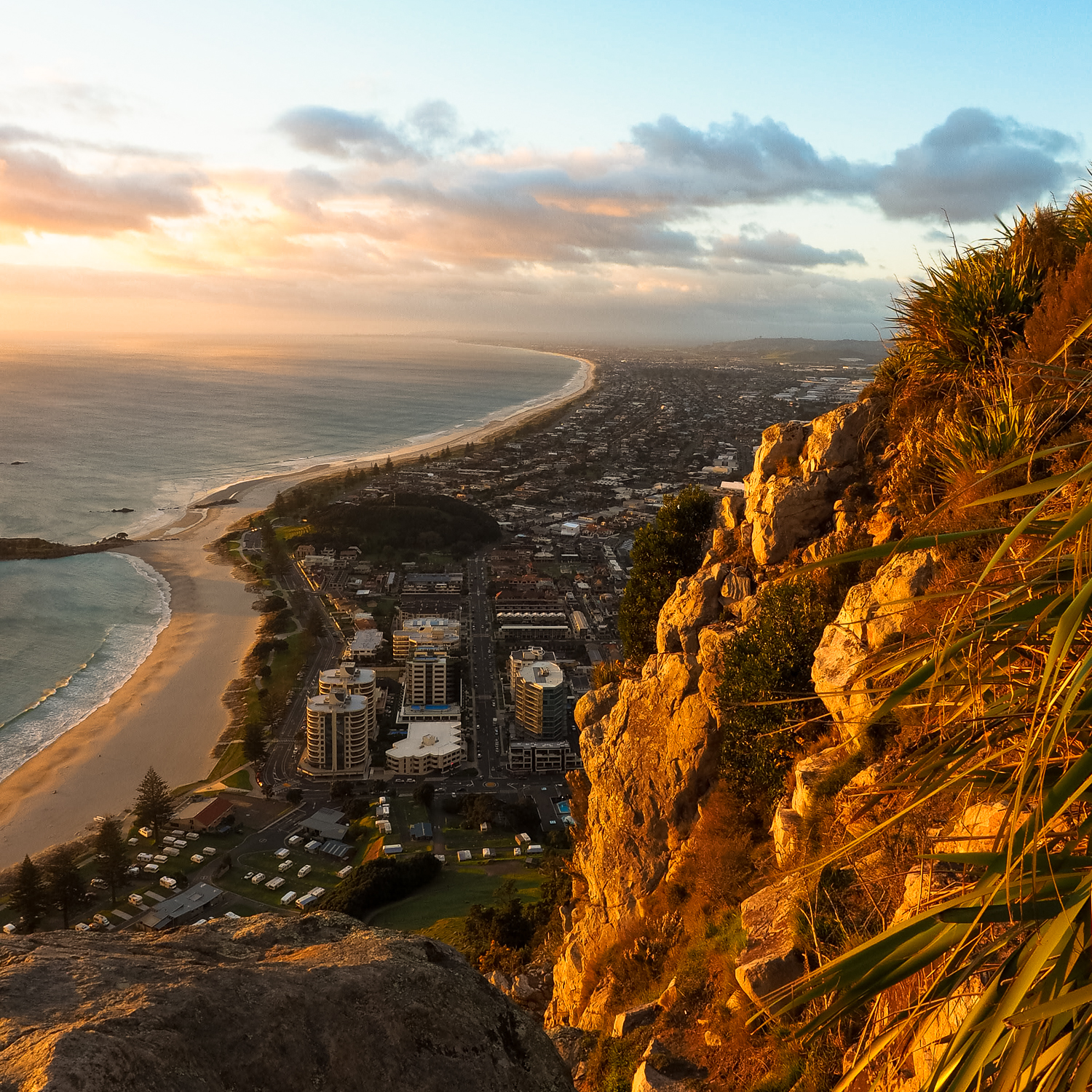 New day in the bay. Sunrise from 230 metres above coastal Mount Maunganui, Tauranga, NZ. 1/160sec, f/13, ISO 1250